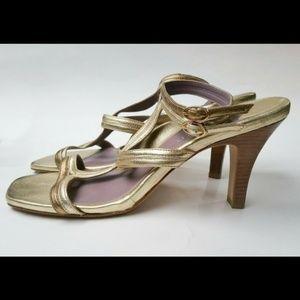 Taryn By Taryn Rose Gold Sandals Size 9 70s Disco